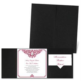 Flourishing Border - Black - Pocket Invitation