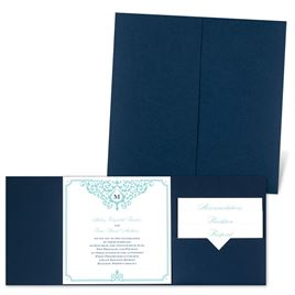 Flourishing Border - Navy - Pocket Invitation