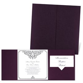 Flourishing Border - Eggplant - Pocket Invitation