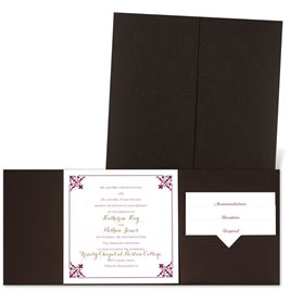 Filigree Edges - Brown Shimmer - Pocket Invitation