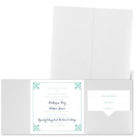 Filigree Edges - White Shimmer - Pocket Invitation