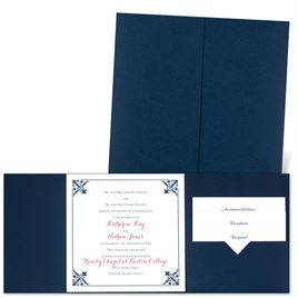 Filigree Edges - Navy - Pocket Invitation