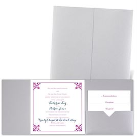 Filigree Edges - Silver Shimmer - Pocket Invitation
