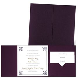 Filigree Edges - Eggplant - Pocket Invitation