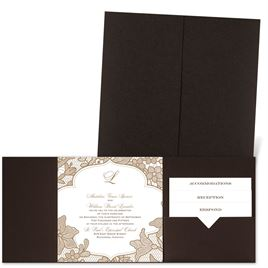 Lavish Lace - Brown Shimmer - Pocket Invitation