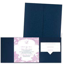 Lavish Lace - Navy - Pocket Invitation