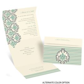 Damask Stripes - Ecru - Seal and Send Invitation