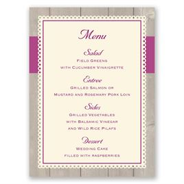 Rustic Fence - Ecru - Menu Card