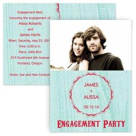 Engagement Party Invitations: Wood Grain - Engagement Party Postcard