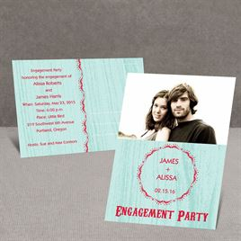 Wood Grain - Aqua - Engagement Party Postcard
