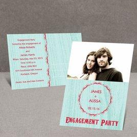 Wood Grain - Aqua - Engagement Party Postcard