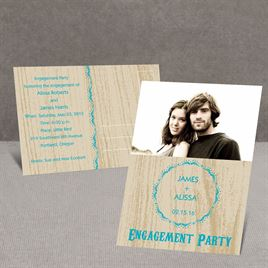 Wood Grain - Champagne - Engagement Party Postcard