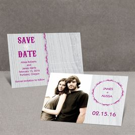 Wood Grain - Sterling - Save the Date Postcard