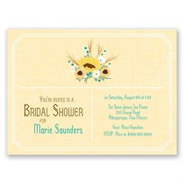 Country Sunflowers - Honey - Petite Bridal Shower Invitation