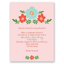 Blooming Vintage - Cotton Candy - Bachelorette Party Invitation