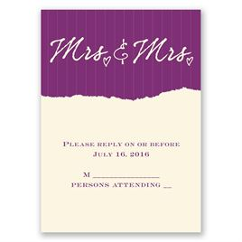 Mrs. and Mrs. - Ecru - Response Card and Envelope
