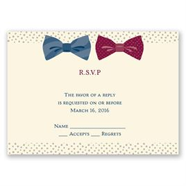 Bow Ties - Ecru - Response Card and Envelope