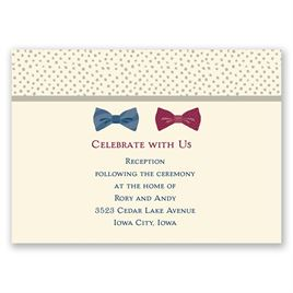 Bow Ties - Ecru - Reception Card