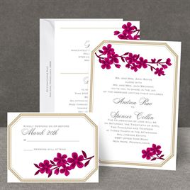 Fresh Flowers - Raspberry - All in One Invitation