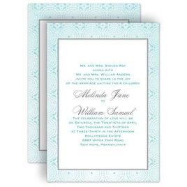 Aqua Wedding Invitations: Designer Dots All in One Invitation
