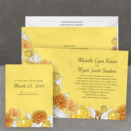 Lots of Blossoms - Canary - All in One Invitation