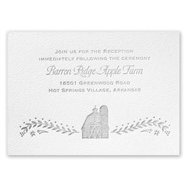 Sweet Barn - White - Featherpress Reception Card