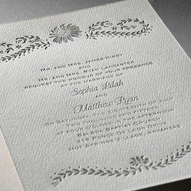 Sunflower Delight - Ecru - Featherpress Invitation