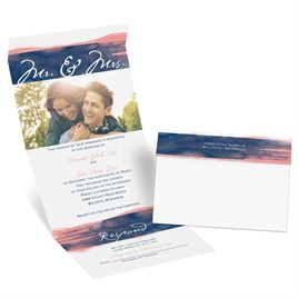 Watercolor Mr. and Mrs. - Navy - Seal and Send Invitation