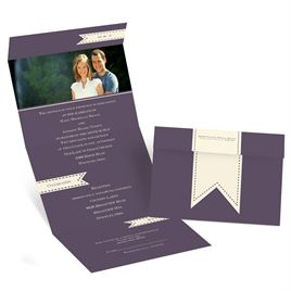 Ribbon Tabs - Ecru - Seal and Send Invitation