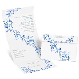 Watercolor Petals - Malibu - Seal and Send Invitation