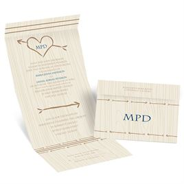 Heart Wedding Invitations: Natural Direction Seal and Send