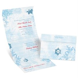 Snowflakes and Swirls - Celestial Blue - Seal and Send Invitation