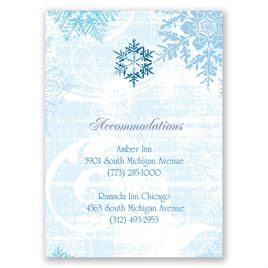 Snowflakes and Swirls - Celestial Blue - Accommodations Card