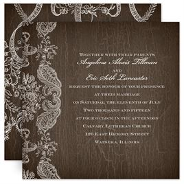 Lace Wedding Invitations: Rustic Lace Invitation