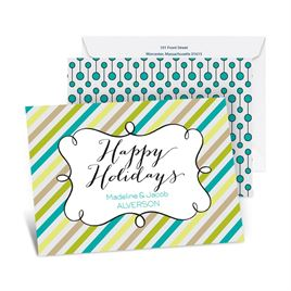 Candy Stripes Holiday - Peacock - Petite Holiday Card