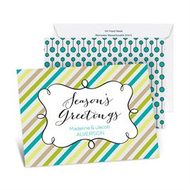 Candy Stripes Season - Peacock - Petite Holiday Card