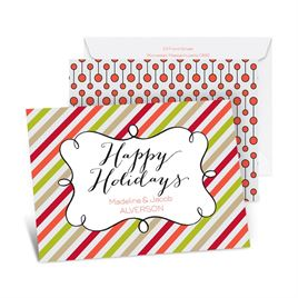 Candy Stripes Holiday - Tango - Petite Holiday Card