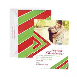Chevron Season - Cherry - Photo Holiday Card