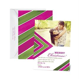 Chevron Season - Raspberry - Photo Holiday Card