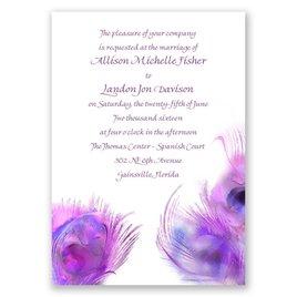 Watercolor Peacock - Grapevine - Invitation