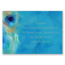 Watercolor Peacock - Palm - Reception Card