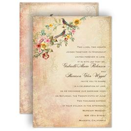 Awesome Monogram Wedding Invitations: Vintage Birds Invitation