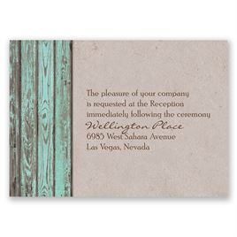 Rustic Frame - Aqua - Reception Card