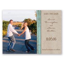 Rustic Frame - Aqua - Save the Date Card