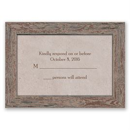Rustic Frame - Bark - Response Card and Envelope
