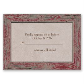Rustic Frame - Barn Red - Response Card and Envelope