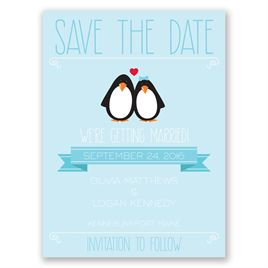 Penguin Pair - Save the Date Card