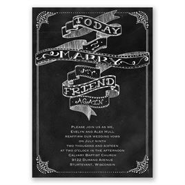 Chalkboard Sketch - Vow Renewal Invitation