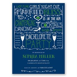 Girl Talk - Navy - Bachelorette Party Invitation