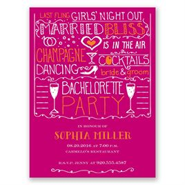 Girl Talk - Raspberry - Bachelorette Party Invitation